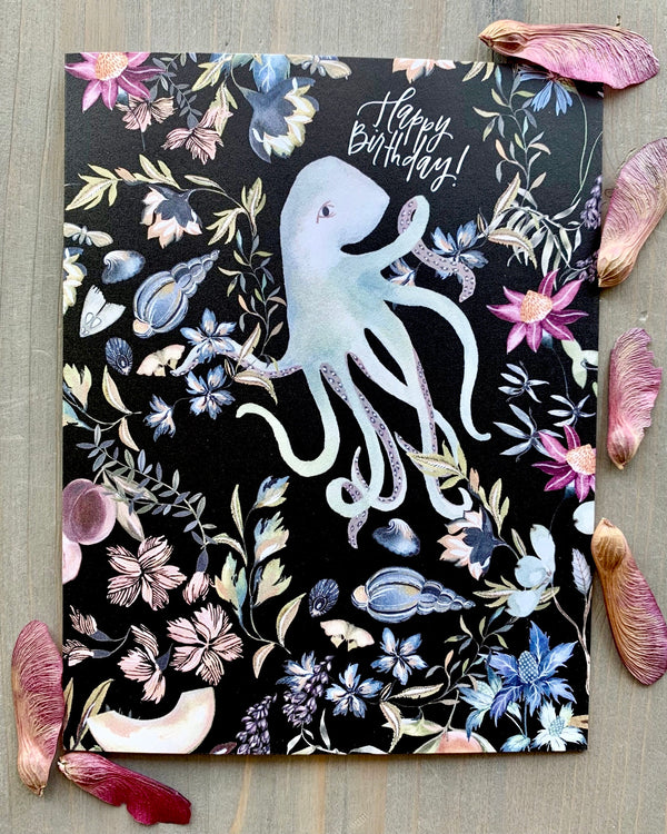 • BIRTHDAY OCTOPUS • medium note card
