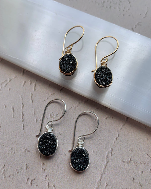 • LUSTER • silver or gold oval druzy earrings