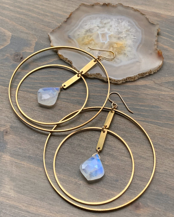 • RADIUS • rainbow moonstone hoop earrings