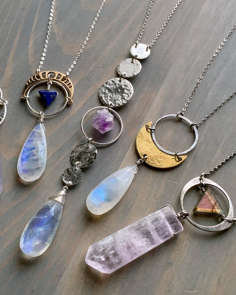 "• NYX • 28""-30"" rainbow moonstone + amethyst + silver necklace"
