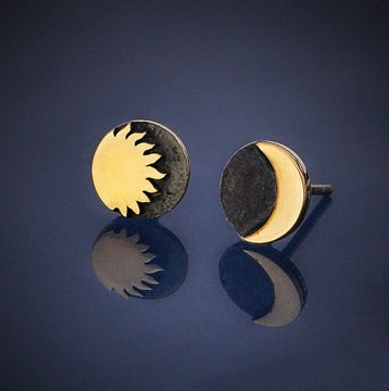 • SUN & MOON • silver + bronze mixed metal stud earrings