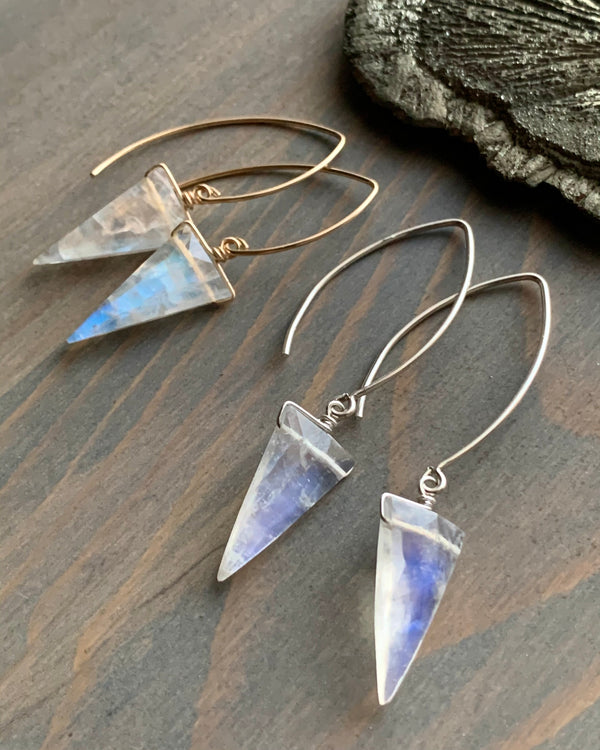 • STRAY - FANGS • rainbow moonstone simple silver or gold earrings