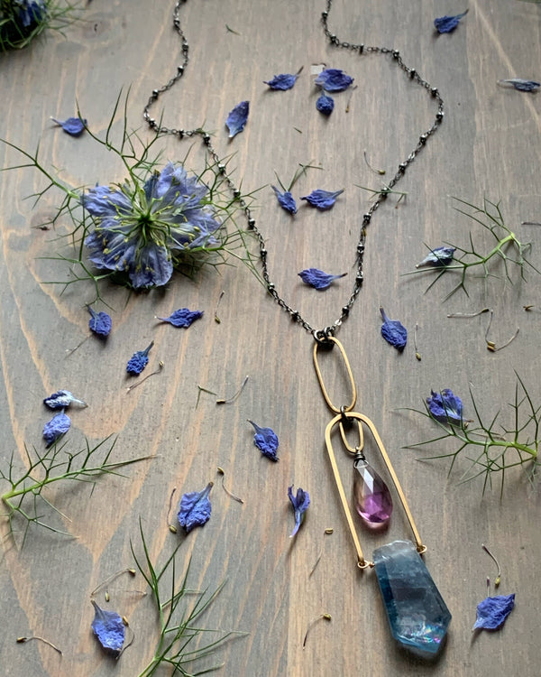 "• AEON • 28""-30"" ametrine + flourite mixed metal necklace"