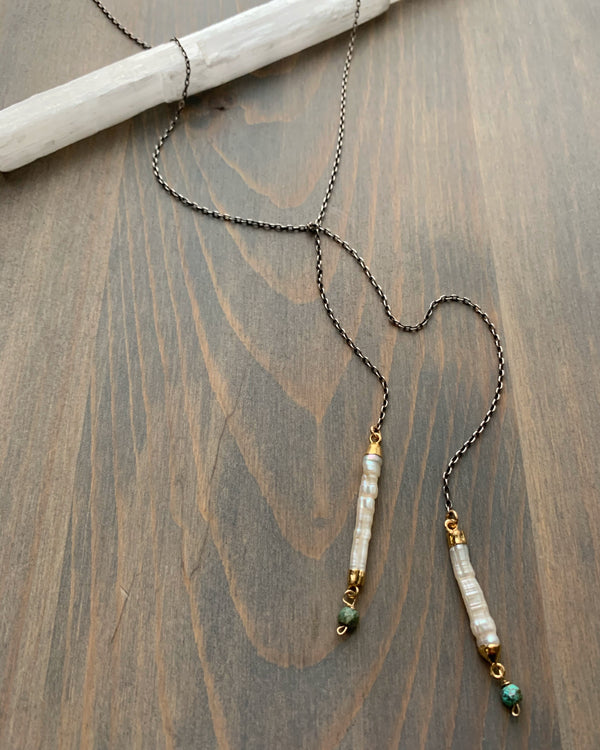 "• STICK LARIAT • 33"" stick pearl mixed metal necklace"