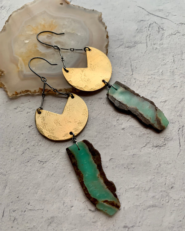 • BANDAI •  chrysoprase mixed metal earrings