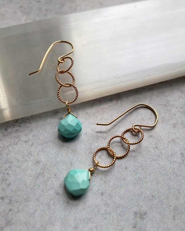 • 3 RING • turquoise + gold earrings