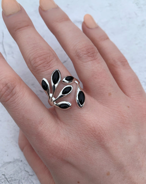 • VINE • onyx adjustable sterling silver ring