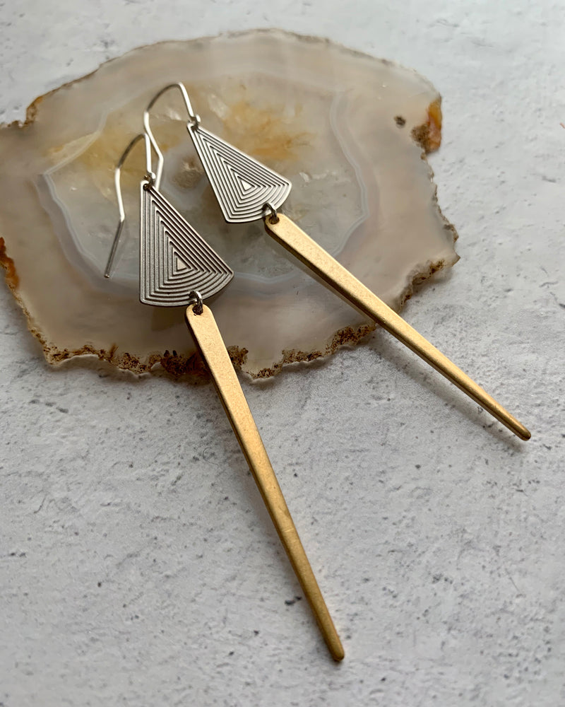 • DAY DAGGERS •  mixed metal dangle earrings