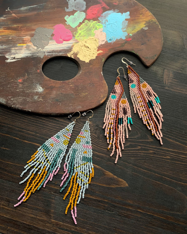 • CONFETTI • beaded dangle earrings