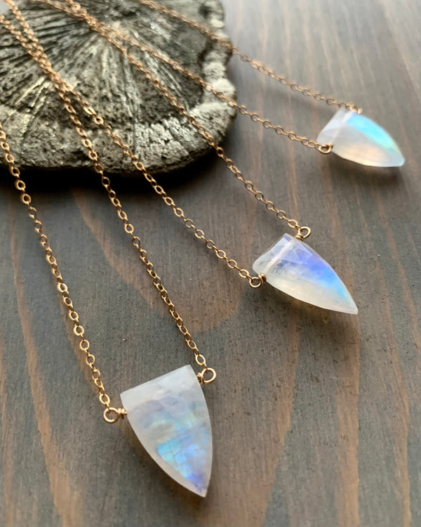 • STRAY • rainbow moonstone + gold necklace