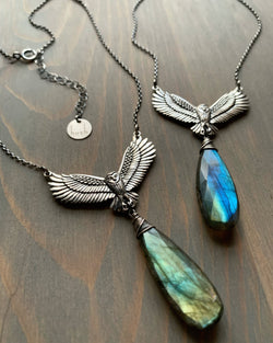 • NIGHT FLIGHT'S FIND •  labradorite + silver necklace