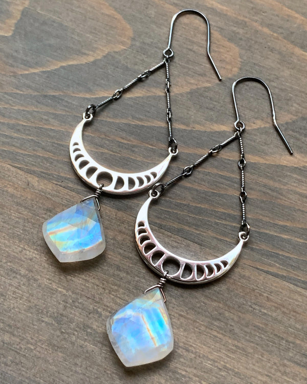 • ECLIPSE • rainbow moonstone dangle earrings