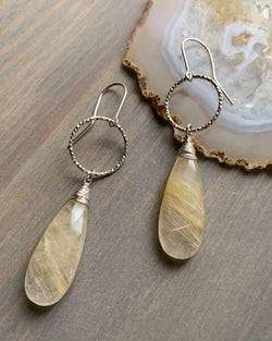 • ECLIPSE • rutilated quartz silver earrings