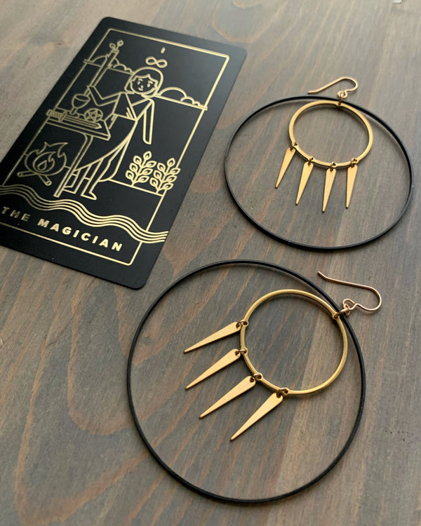• LOW KEY MAGICIAN •  mixed metal hoop earrings