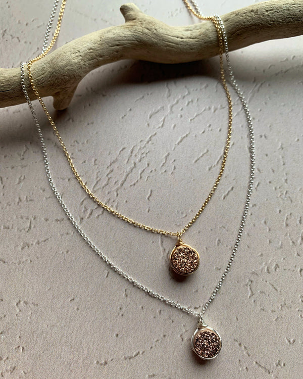 • LUSTER • silver or gold pink druzy necklace