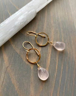 • DROPLET HOOP • rose quartz gold earrings