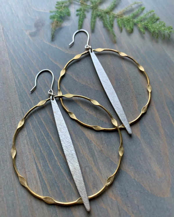 • STALACTITE DOT DASH HOOPS • mixed metal earrings