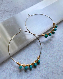 • ALL WRAPPED UP HOOP • turquoise + mixed metal earrings