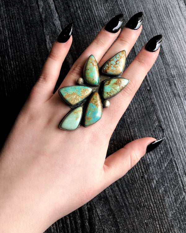 • LEAF • Turquoise + Silver Ring
