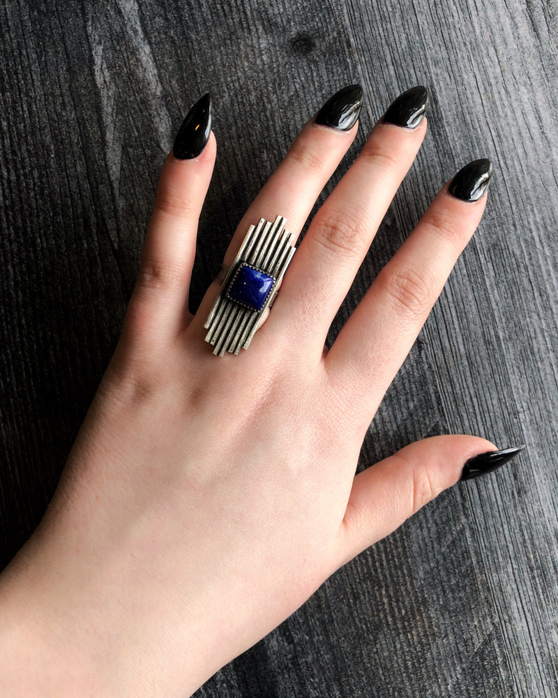 • ART DECO • Lapis + Silver Ring