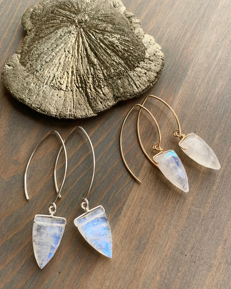 • STRAY - SPEARS • rainbow moonstone simple silver or gold earrings