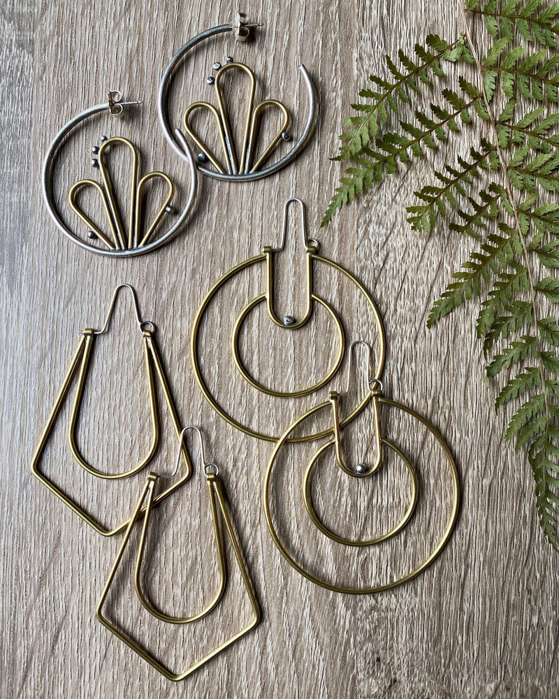 • FLEUR DEW HOOPS • mixed metal earrings