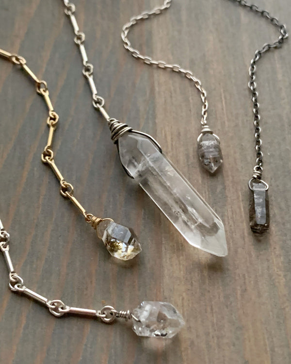• STRAY • herkimer diamond + gold Y necklace