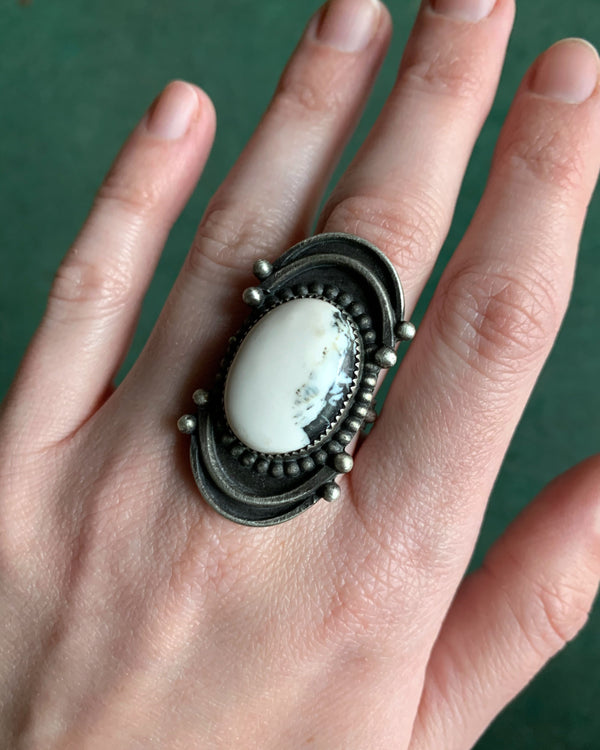 • HARMONY • white buffalo + silver ring