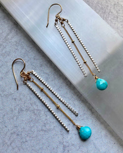 • TRINITY DROP • turquoise + mixed metal earrings