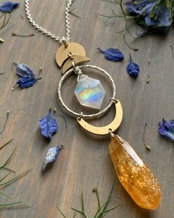 "• NYX • 28""-30"" rainbow moonstone + citrine mixed metal necklace"