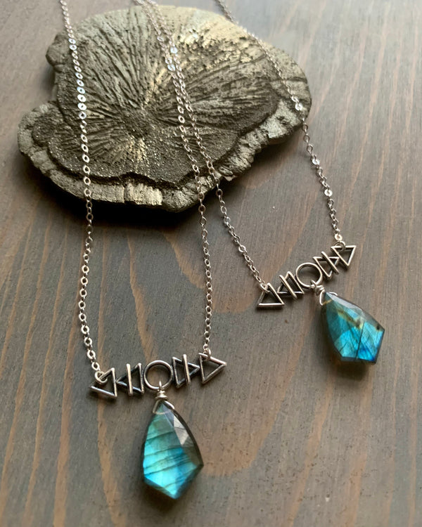 • AFEW [air, fire, earth, water] •labradorite + silver necklace