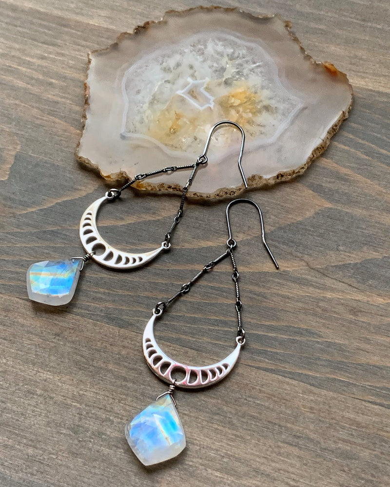 • MOON PHASE • rainbow moonstone silver earrings