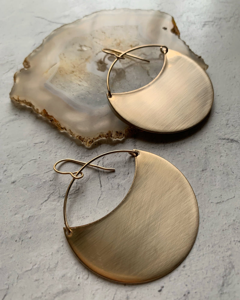 • THEIA • SILVER or GOLD LARGE BRUSHED EARRINGS