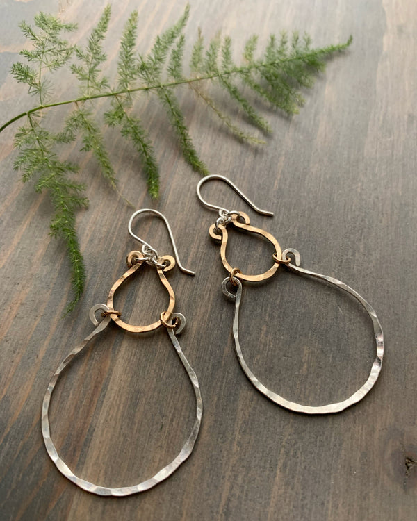 • LUCKY HORSESHOE • mixed metal earrings