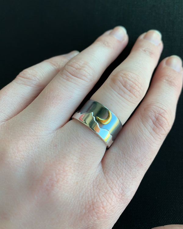 • MOON OVER MOUNTAINS • silver & bronze wide band ring