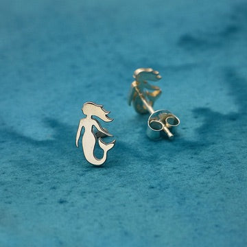 • SMALL MERMAID • silver stud earrings