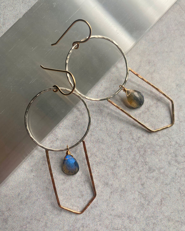 • GOTHIC GEOMETRIC • labradorite + mixed metal earrings