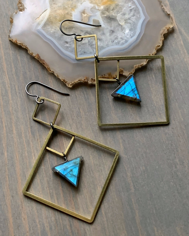 • DIAMOND DANCER • labradorite mixed metal earrings