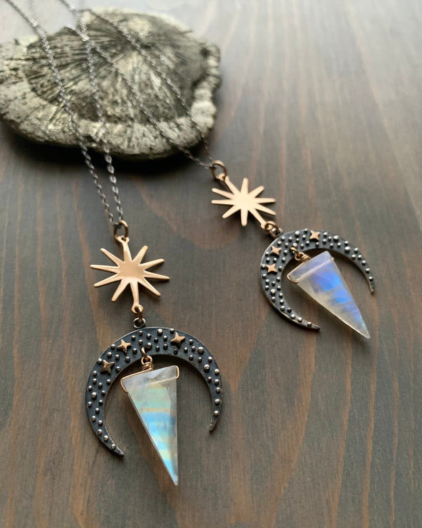 • CELESTIAL NAVIGATION • rainbow moonstone mixed metal necklace
