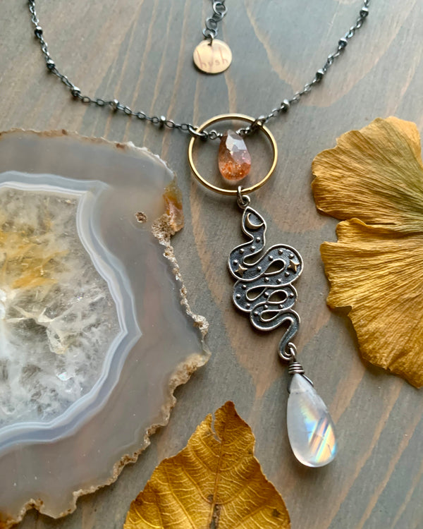 • CELESTIAL SLITHER • rainbow moonstone + sunstone mixed metal necklace -OOAK-