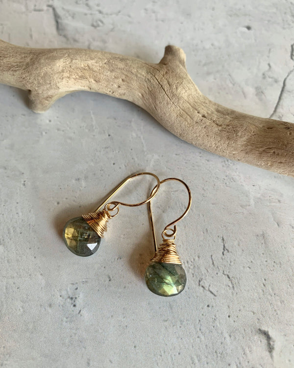 • SWEETCAKES • labradorite gold earrings