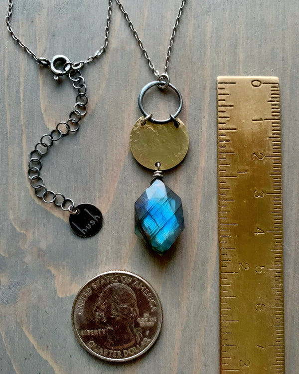 • LITTLE NYX • labradorite mixed metal necklace