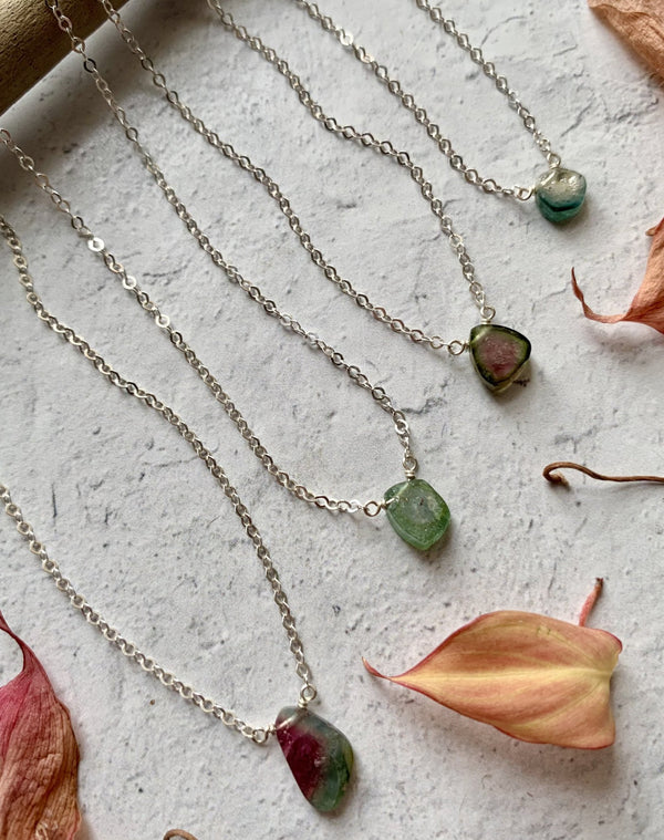 - STRAY - tiny watermelon tourmaline + silver necklace (LIMITED)
