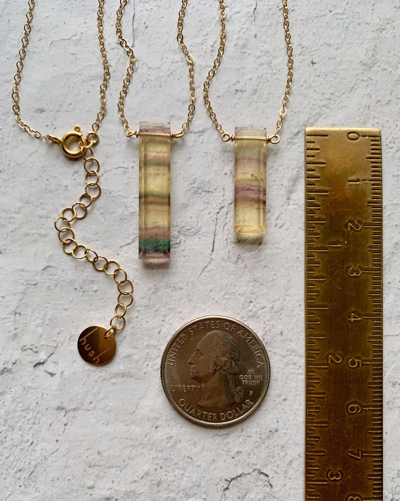 • STRAY - CUBOID • fluorite + gold necklace