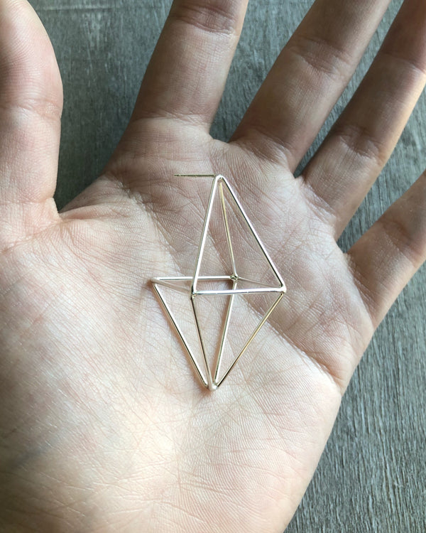 • OCTAHEDRON • silver post dangle earrings