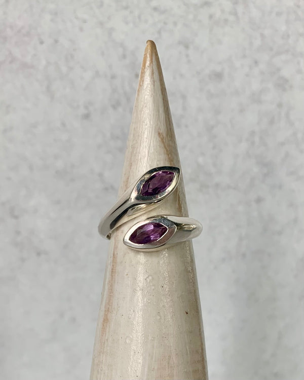 • EMBRACE • amethyst adjustable sterling silver ring