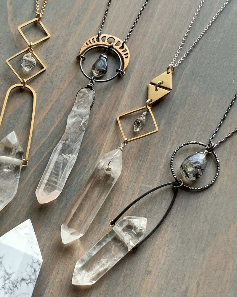 "• NYX • 28""-30"" super seven + quartz + silver necklace"