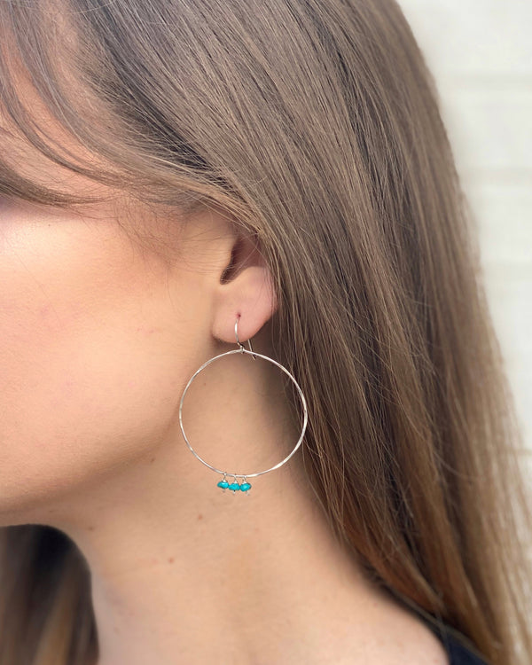 • NAVAJO DROPS • turquoise + silver hoop earrings
