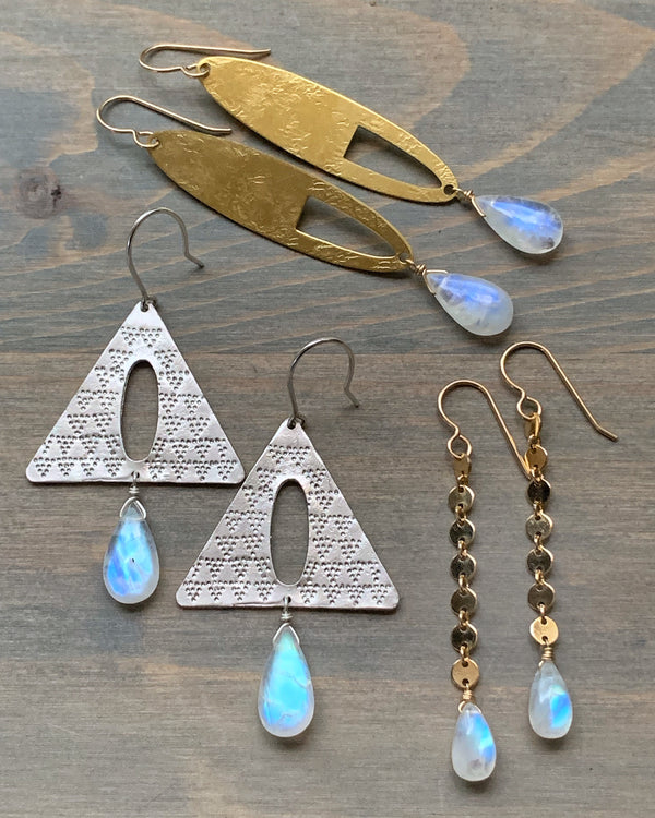 • THETA • rainbow moonstone dangle earrings