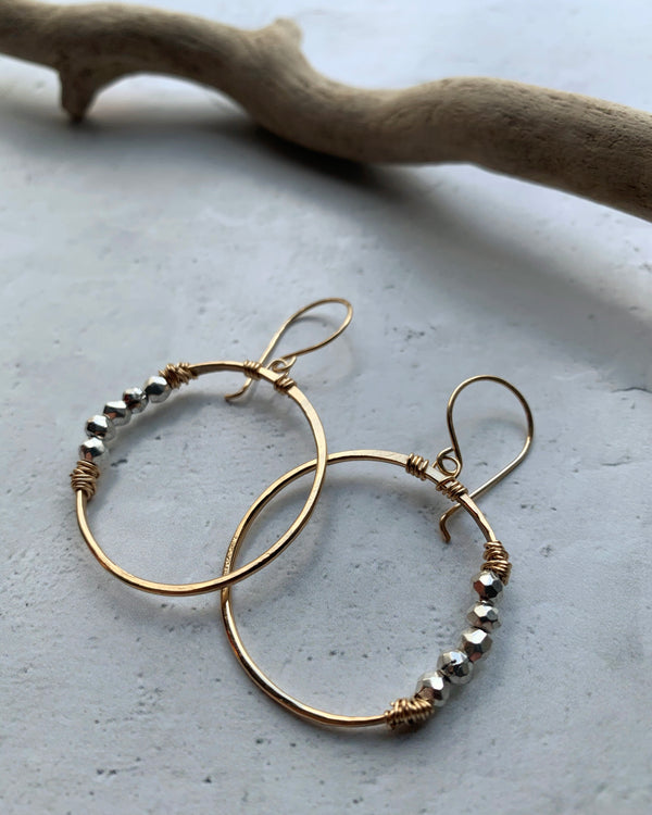 • ARGONAUT HOOP • pyrite gold earrings